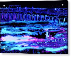 Acrylic Print featuring the painting Beach Scene At Night by David Mckinney