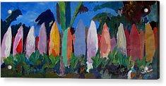 Beach Scene With Wall Of Surf Boards Hawaii I Acrylic Print
