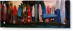 Beach Scene With Wall Of Surf Boards Hawaii II Acrylic Print