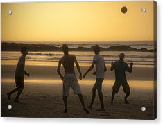 Beach Soccer At Sunset Acrylic Print