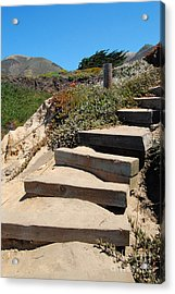 Acrylic Print featuring the photograph Beach Stairs Big Sur by Debra Thompson