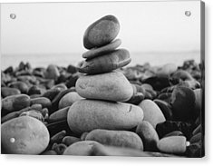 Beach Stones - 3 Acrylic Print by Jane M