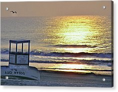 Beach Sunrise Acrylic Print by John Wartman
