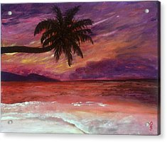 Acrylic Print featuring the painting Beach Sunset by Debbie Baker