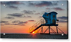 Beach Tower Wide Screen Acrylic Print by Peter Tellone