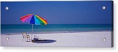 Beach Umbrella And A Folding Chair Acrylic Print