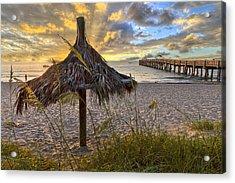 Beach Umbrella Acrylic Print by Debra and Dave Vanderlaan