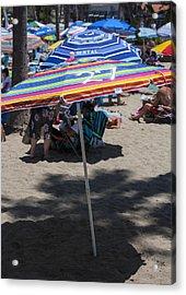 Beach Umbrella Rainbow 3 Acrylic Print by Scott Campbell