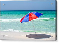Beach Umbrella Acrylic Print by Shelby  Young