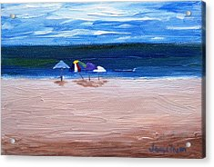 Acrylic Print featuring the painting Beach Umbrellas by Jamie Frier