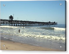 Beach View With Pier 2 Acrylic Print by Ben and Raisa Gertsberg