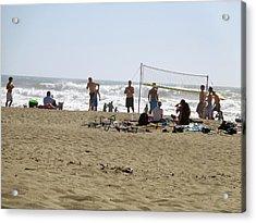 Acrylic Print featuring the pyrography Beach Volleyball by Hiroko Sakai