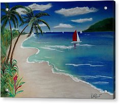 Beach With Sailboat Acrylic Print