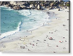 Beach With Swimmers Cape Town Acrylic Print by Michael Blann