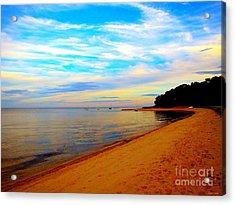 Beach With Vibrant Sky Acrylic Print