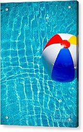 Beachball On Pool Acrylic Print by Amy Cicconi