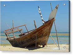 Beached Dhow At Wakrah Acrylic Print by Paul Cowan