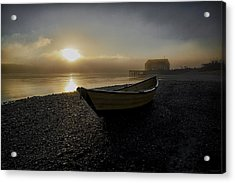 Beached Dory In Lifting Fog  Acrylic Print by Marty Saccone