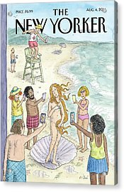 Beachgoers Take Pictures On Their Cellphones Acrylic Print by Roz Chast
