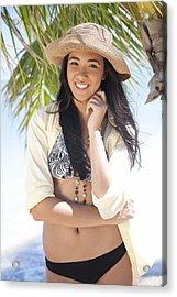 Beachy Woman Acrylic Print by Brandon Tabiolo
