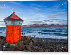 Beacon At Hvaleyrarviti In Iceland Acrylic Print by Andres Leon