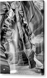 Beam Of Light In Upper Antelope Canyon In Black And White Acrylic Print by Susan Schmitz