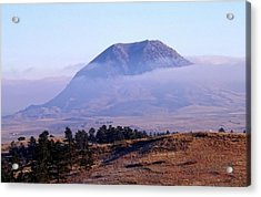 Acrylic Print featuring the photograph Bear Butte Fog by Fiskr Larsen