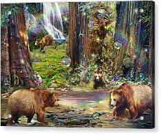 Bear Forest Magical 2 Acrylic Print by Alixandra Mullins