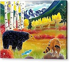 Bear Meets Raccoon Acrylic Print by Harriet Peck Taylor