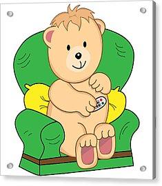 Bear Sat In Armchair Cartoon Acrylic Print by Toots Hallam