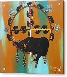 Bear Totem And Medicine Wheel Acrylic Print