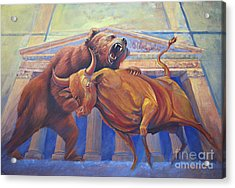 Bear Vs Bull Acrylic Print by Rob Corsetti