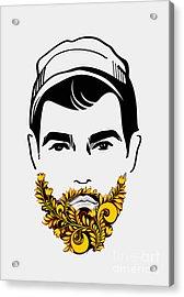 Beard And Mustache Man. Traditional Acrylic Print