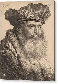 Bearded Man In A Velvet Cap With A Jewel Clasp Acrylic Print by Rembrandt