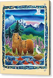 Bears And Salmon Acrylic Print by Harriet Peck Taylor