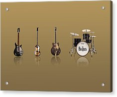 Beat Of Beatles Gold Acrylic Print by Six Artist