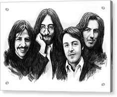 Beatles Blackwhite Drawing Sketch Poster Acrylic Print by Kim Wang