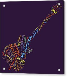 Beatles Text Art Acrylic Print by Linda Brown