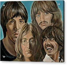 Acrylic Print featuring the painting Beatles The Fab Four by Melinda Saminski