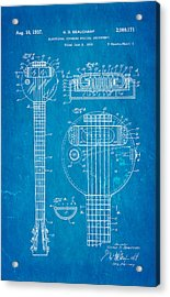 Beauchamp First Electric Guitar Patent Art 1937 Blueprint Acrylic Print by Ian Monk