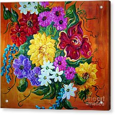 Acrylic Print featuring the painting Beauties In Bloom by Eloise Schneider