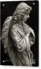 Beautiful Angel Praying Hands Christian Art Print Acrylic Print by Kathy Fornal