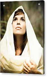 Beautiful Angelic Woman Looking To The Heavens Acrylic Print by Joe Fox
