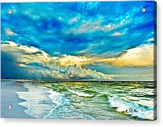 Beautiful Beach Blue Sea Acrylic Print by Eszra Tanner