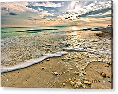 Beautiful Beach Blue Sea Sunset Acrylic Print by Eszra Tanner