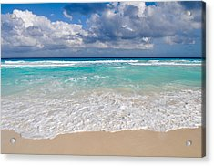 Beautiful Beach Ocean In Cancun Mexico Acrylic Print