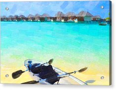 Beautiful Beach With Water Bungalows At Maldives Acrylic Print by Lanjee Chee
