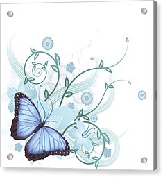 Beautiful Blue Butterfly Background Acrylic Print by Christos Georghiou