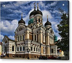Beautiful Cathedral In Tallinn Estonia Acrylic Print by David Smith