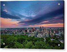 Beautiful Cloud Over The Montreal City Acrylic Print by D3sign